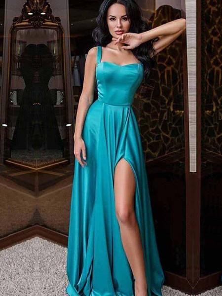 A-Line/Princess Sleeveless Sweep/Brush Train Elastic Woven Satin Dresses