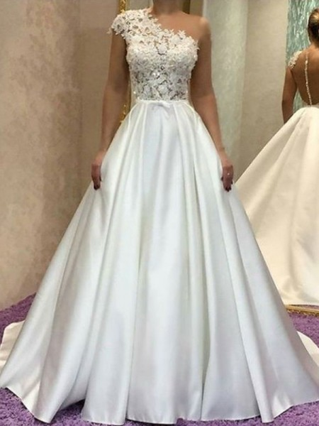 A-Line/Princess Sleeveless Lace One-Shoulder Satin Sweep/Brush Train Wedding Dresses