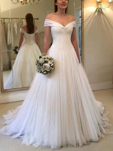A-Line/Princess Sleeveless Ruched Off-the-Shoulder Tulle Sweep/Brush Train Wedding Dresses