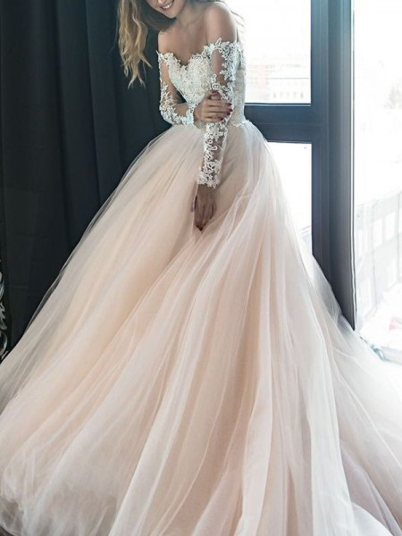 A-Line/Princess Long Sleeves Applique Off-the-Shoulder Tulle Court Train Wedding Dresses