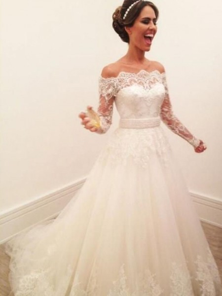 A-Line/Princess Long Sleeves Lace Off-the-Shoulder Tulle Sweep/Brush Train Wedding Dresses