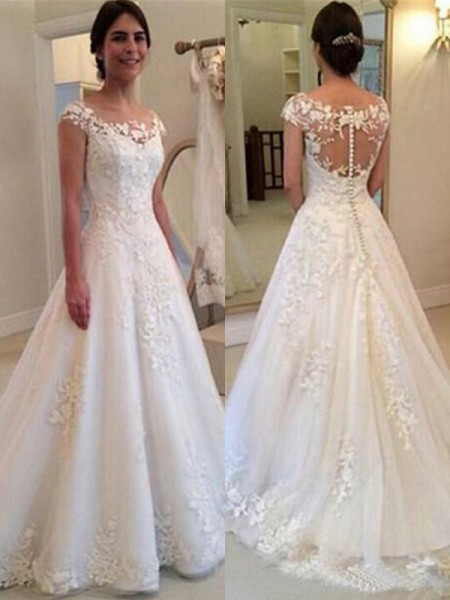A-Line/Princess Sleeveless Lace Scoop Tulle Sweep/Brush Train Wedding Dresses