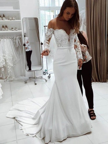 Trumpet/Mermaid Long Sleeves Lace Off-the-Shoulder Chiffon Court Train Wedding Dresses
