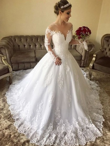 Ball Gown Long Sleeves Lace Off-the-Shoulder Tulle Sweep/Brush Train Wedding Dresses