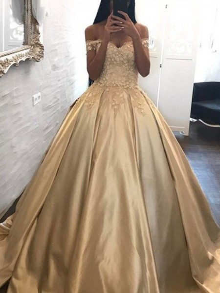 Ball Gown Sleeveless Applique Off-the-Shoulder Satin Sweep/Brush Train Dresses