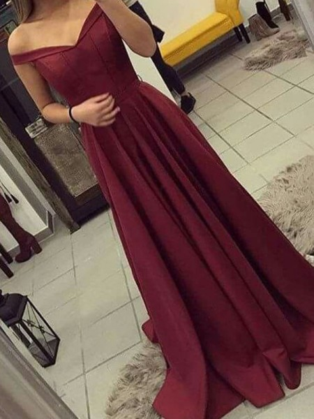 A-Line/Princess Sleeveless Ruched Off-the-Shoulder Satin Sweep/Brush Train Dresses
