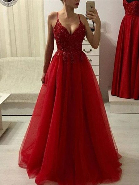 A-Line/Princess Sleeveless Applique Spaghetti Straps Tulle Floor-Length Dresses
