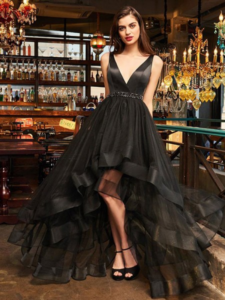 A-Line/Princess Sleeveless Ruffles V-neck Organza Asymmetrical Dresses