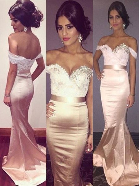 Trumpet/Mermaid Sleeveless Beading Off-the-Shoulder Silk Like Satin Sweep/Brush Train Dresses