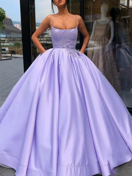Ball Gown Sleeveless Applique Spaghetti Straps Satin Floor-Length Dresses