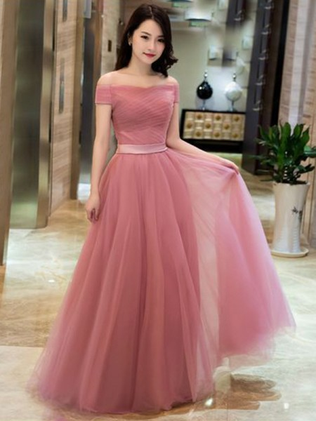 A-Line/Princess Sleeveless Ruffles Off-the-Shoulder Tulle Floor-Length Dresses