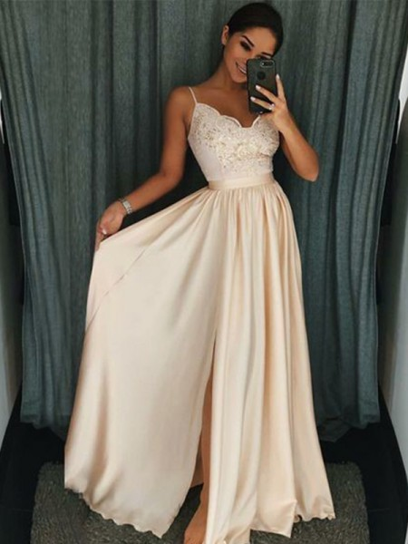 A-Line/Princess Sleeveless Applique Spaghetti Straps Silk like Satin Floor-Length Dresses