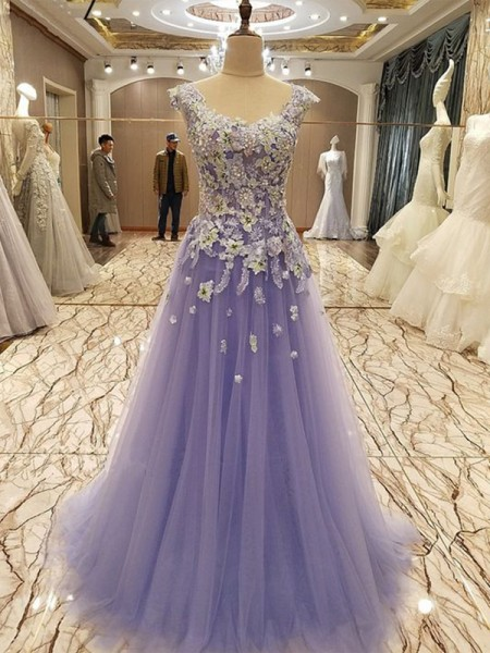 A-Line/Princess Scoop Sleeveless Applique Floor-Length Tulle Dresses