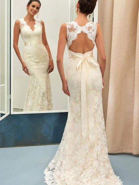 Trumpet/Mermaid V-neck Sleeveless Sash/Ribbon/Belt Sweep/Brush Train Lace Wedding Dresses