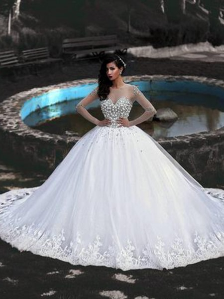 Ball Gown Scoop Long Sleeves Beading Sweep/Brush Train Tulle Wedding Dresses