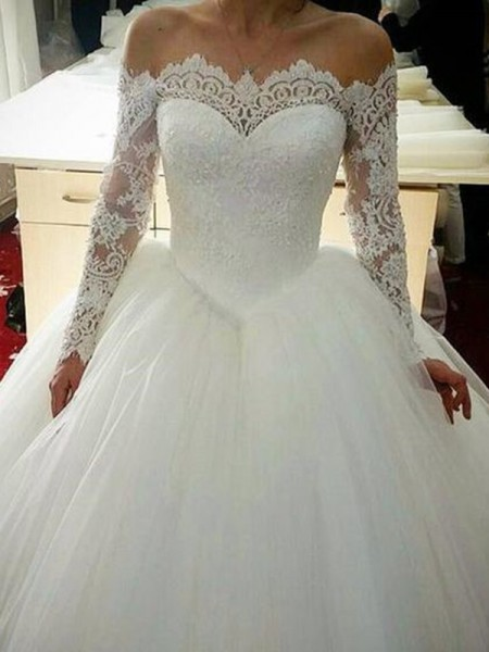 Ball Gown Off-the-Shoulder Long Sleeves Applique Sweep/Brush Train Tulle Wedding Dresses