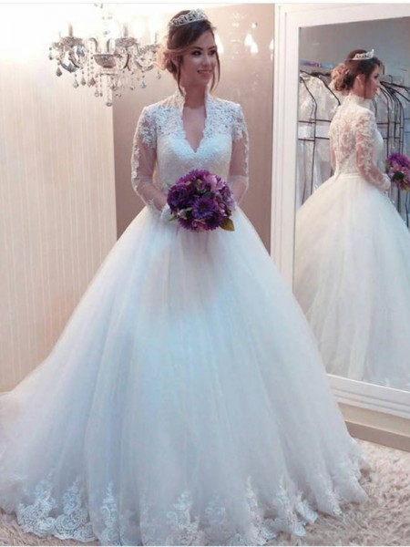 Ball Gown High Neck Long Sleeves Applique Sweep/Brush Train Tulle Wedding Dresses