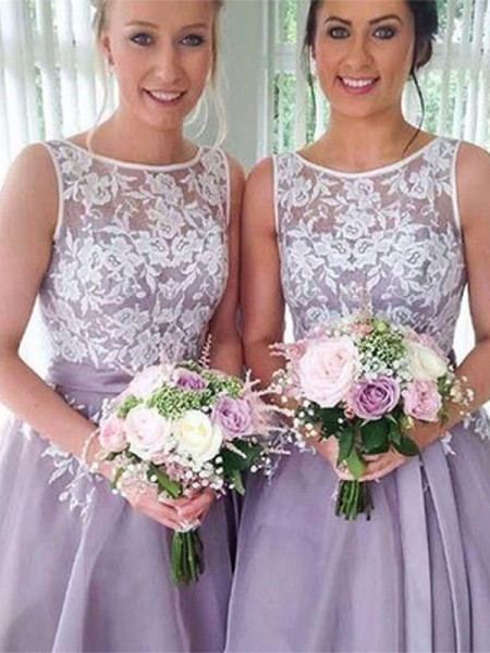 A-Line/Princess Sheer Neck Sleeveless Applique Knee-Length Organza Bridesmaid Dresses