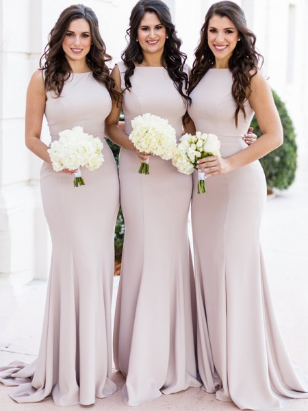Sheath/Column Sheer Neck Sleeveless Sweep/Brush Train Spandex Bridesmaid Dresses