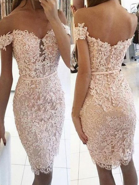 Sheath/Column Off-the-Shoulder Lace Knee-Length Sleeveless Dresses