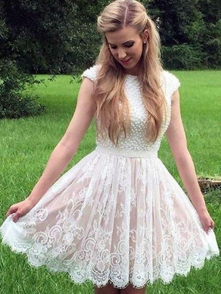 A-Line/Princess Sheer Neck Lace Pearls Short/Mini Sleeveless Dresses