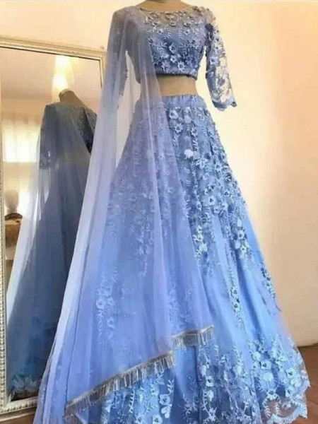 A-Line/Princess Scoop Tulle 3/4 Sleeves Applique Long Dress