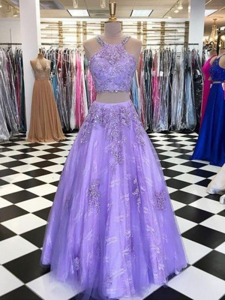 A-Line/Princess Halter Tulle Sleeveless Beading Long Dress
