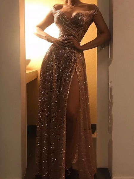 A-Line/Princess Off-the-Shoulder Sequins Sleeveless Ruched Long Dress