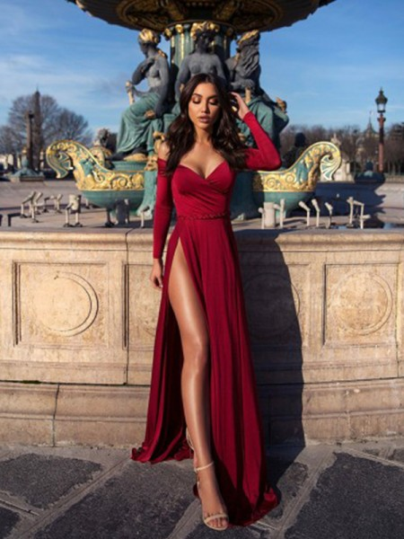A-Line/Princess Off-the-Shoulder Elastic Woven Satin Long Sleeves Ruched Long Dress
