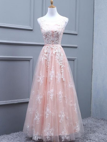 A-Line/Princess Scoop Tulle Sleeveless Applique Long Dress