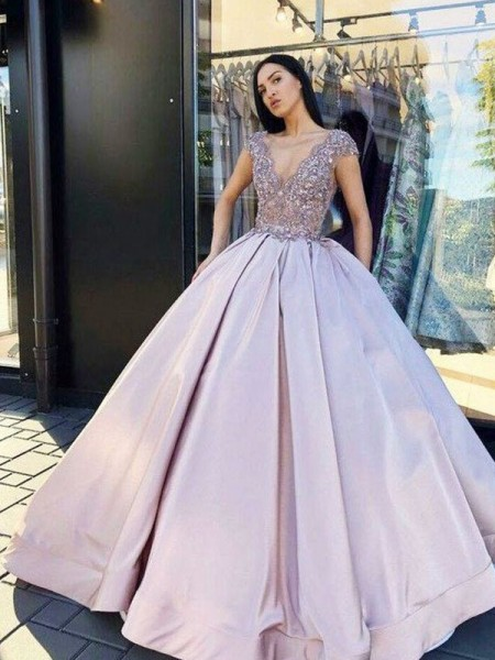 Ball Gown V-neck Satin Short Sleeves Beading Long Dress