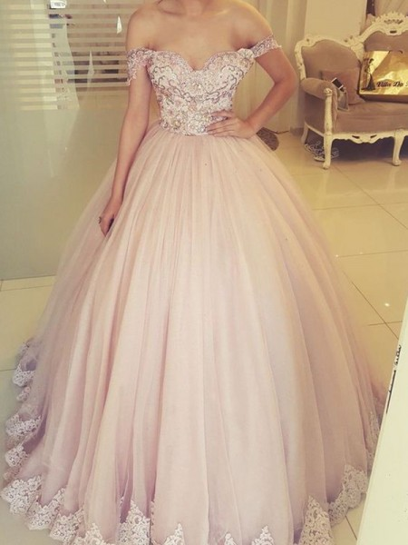 Ball Gown Off-the-Shoulder Tulle Sleeveless Applique Long Dress
