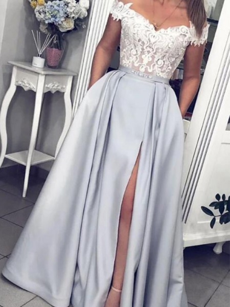 A-Line/Princess Off-the-Shoulder Satin Sleeveless Lace Long Dress