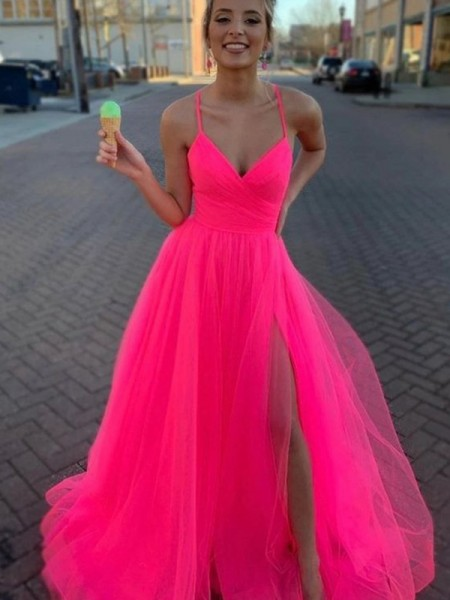 A-Line/Princess V-neck Sleeveless Ruched Long Tulle Dresses