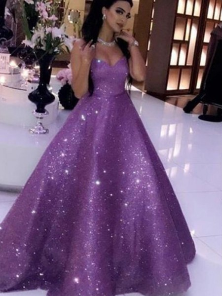 Ball Gown Sweetheart Sleeveless Sequins Long Ruffles Dresses