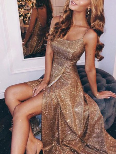 A-Line/Princess Sleeveless Spaghetti Straps Long Ruched Sequins Dresses