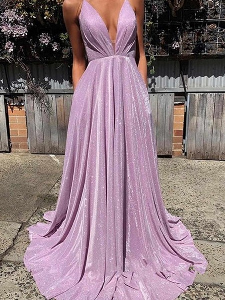A-Line/Princess V-neck Sleeveless Ruffles Long Satin Dresses