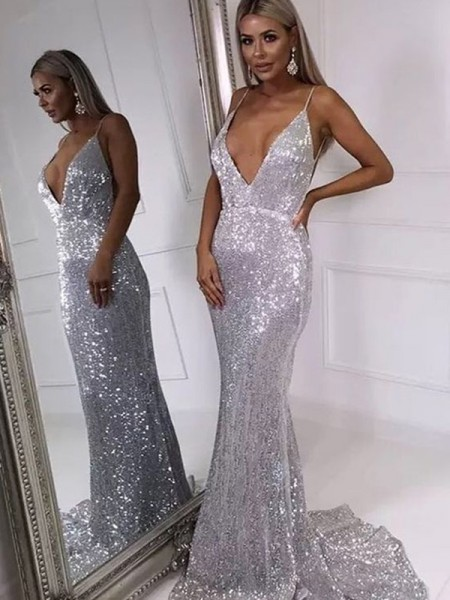 Trumpet/Mermaid Sleeveless V-neck Long Sequins Ruffles Dresses