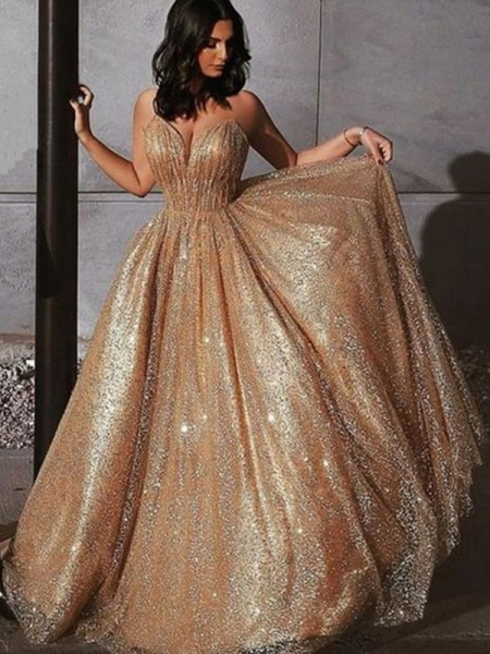 A-Line/Princess Sleeveless Spaghetti Straps Sequin Long Tulle Dresses
