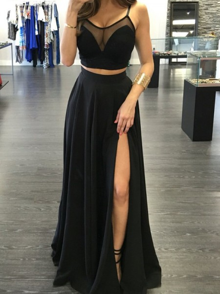 A-Line/Princess Spaghetti Straps Floor-Length Chiffon Two Piece Dress