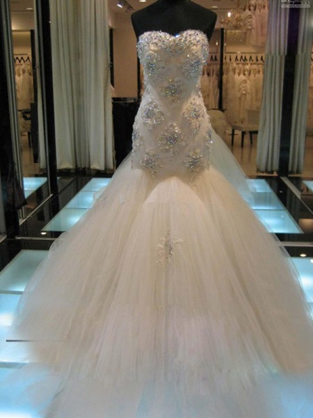 Trumpet/Mermaid Sleeveless Sweetheart Chapel Train Beading Tulle Wedding Dresses