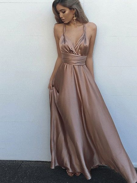 A-Line/Princess Sleeveless Spaghetti Straps Silk Like SatinFloor-Length Dresses