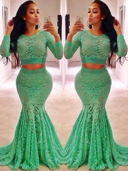 Trumpet/Mermaid Scoop Ruffles Sweep/Brush Train Two Piece Dress with Lace