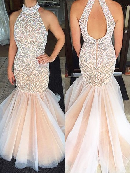 Trumpet/Mermaid Halter Beading Sleeveless Tulle Sweep/Brush Train Dresses