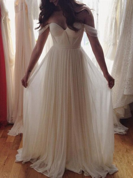 A-Line/Princess Off-the-Shoulder Floor-Length Chiffon Dress