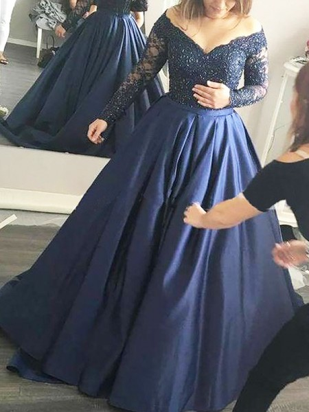 Ball Gown Off-the-Shoulder Long Sleeves Satin Sweep/Brush Train Dress