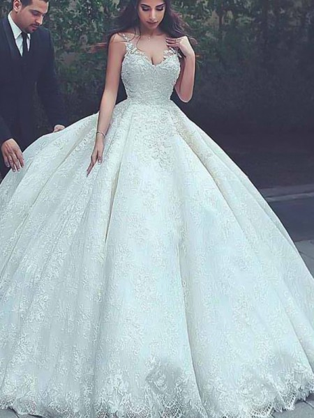 Ball Gown Sweep/Brush Train Sleeveless Tulle Spaghetti Straps Lace Wedding Dresses