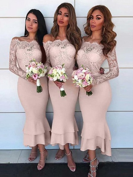 Sheath/Column Ankle-Length Long Sleeves Jersey Off-the-Shoulder Lace Bridesmaid Dresses
